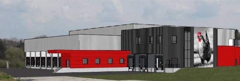 Plateforme logistique Agroalimentaire CELVIA LDC Ploermel Morbihan Entrepot froid positif investissement